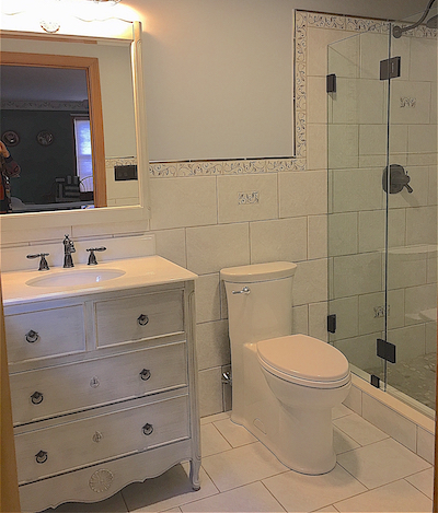 Fully tiled small master bath
