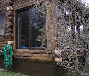 Sliding glass doors in a log cabin